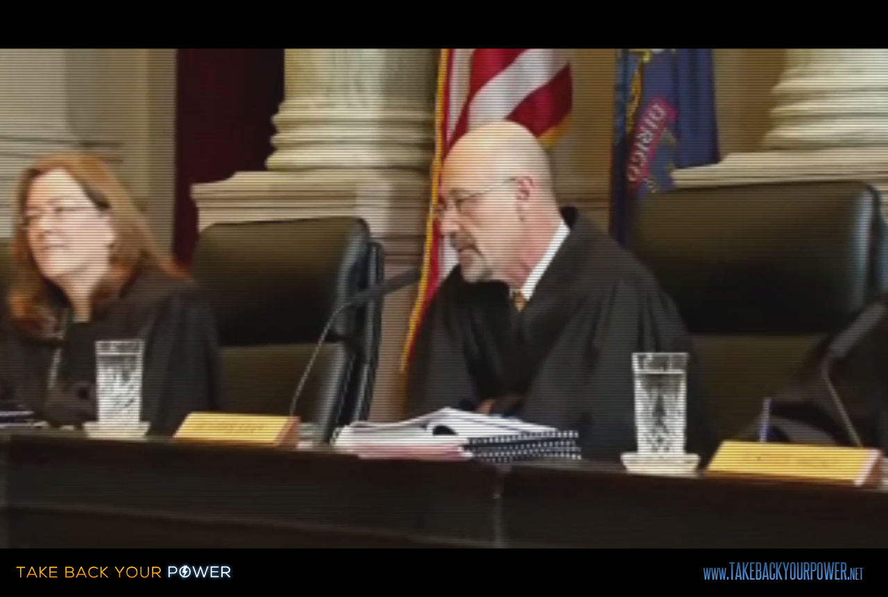 The Maine Supreme Court was incredulous and grilled the Utility Commission, but did a hidden corporate hand sway the case? (scene from Take Back Your Power)