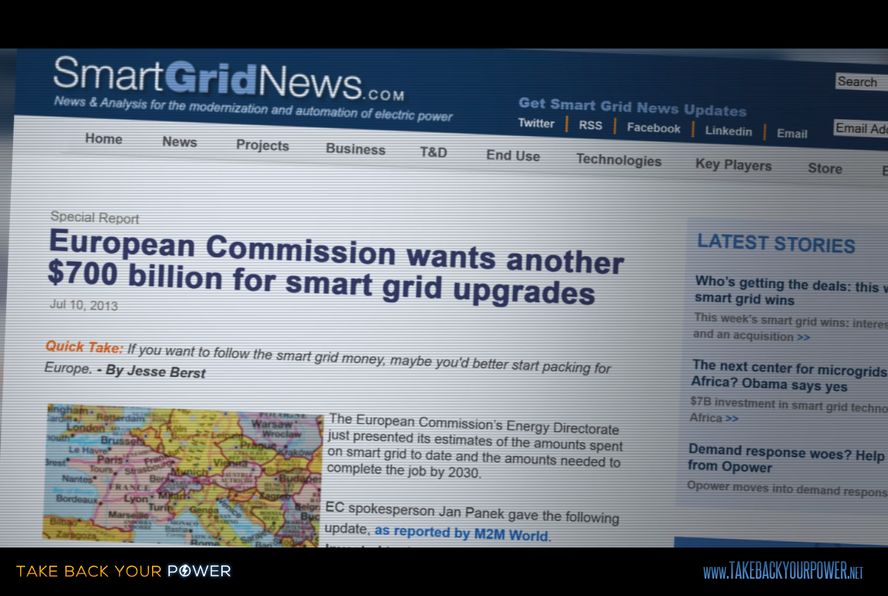 European Commission wants another $700 Billion for smart grid upgrades. (scene from Take Back Your Power)